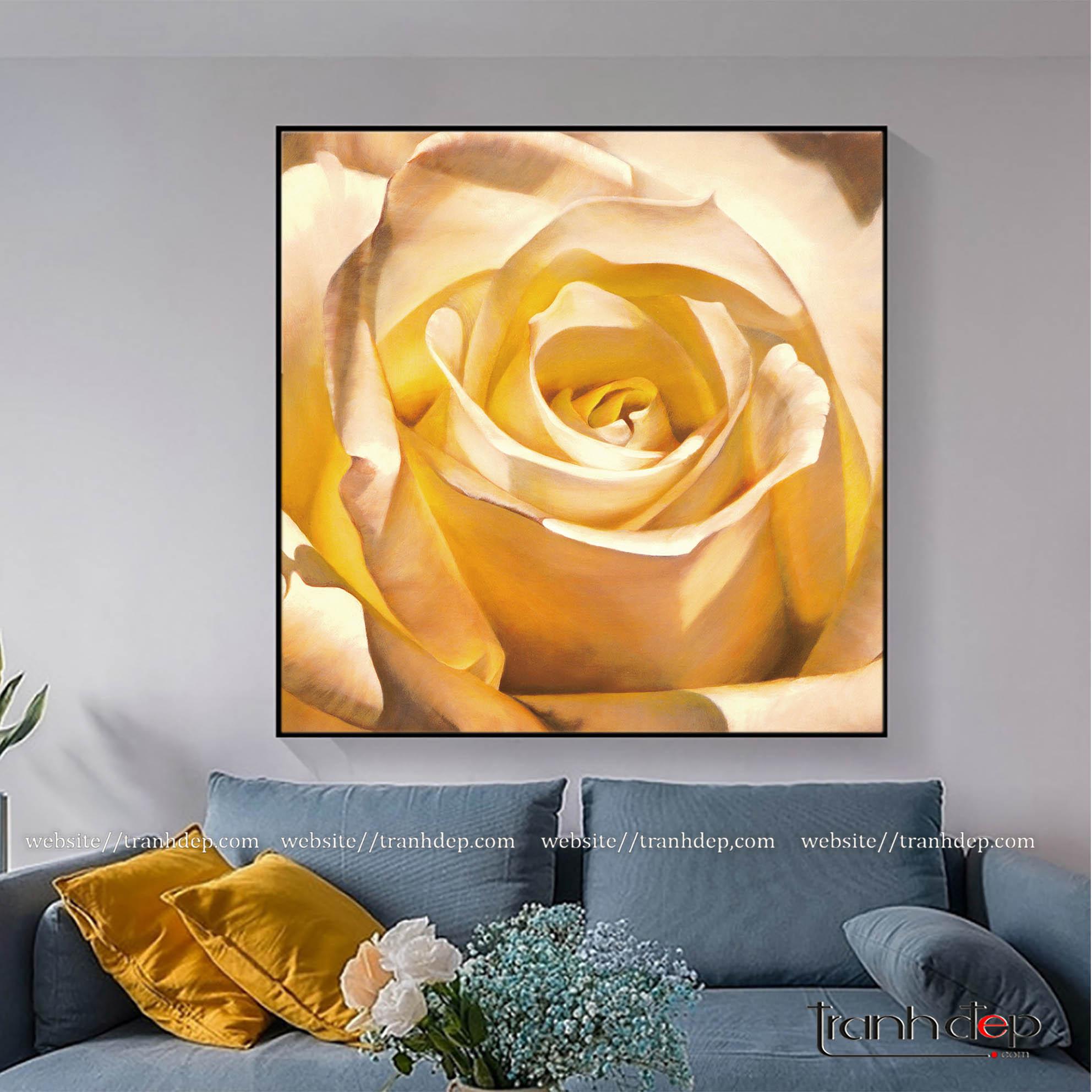 Trang hoa hồng vàng sơn dầu