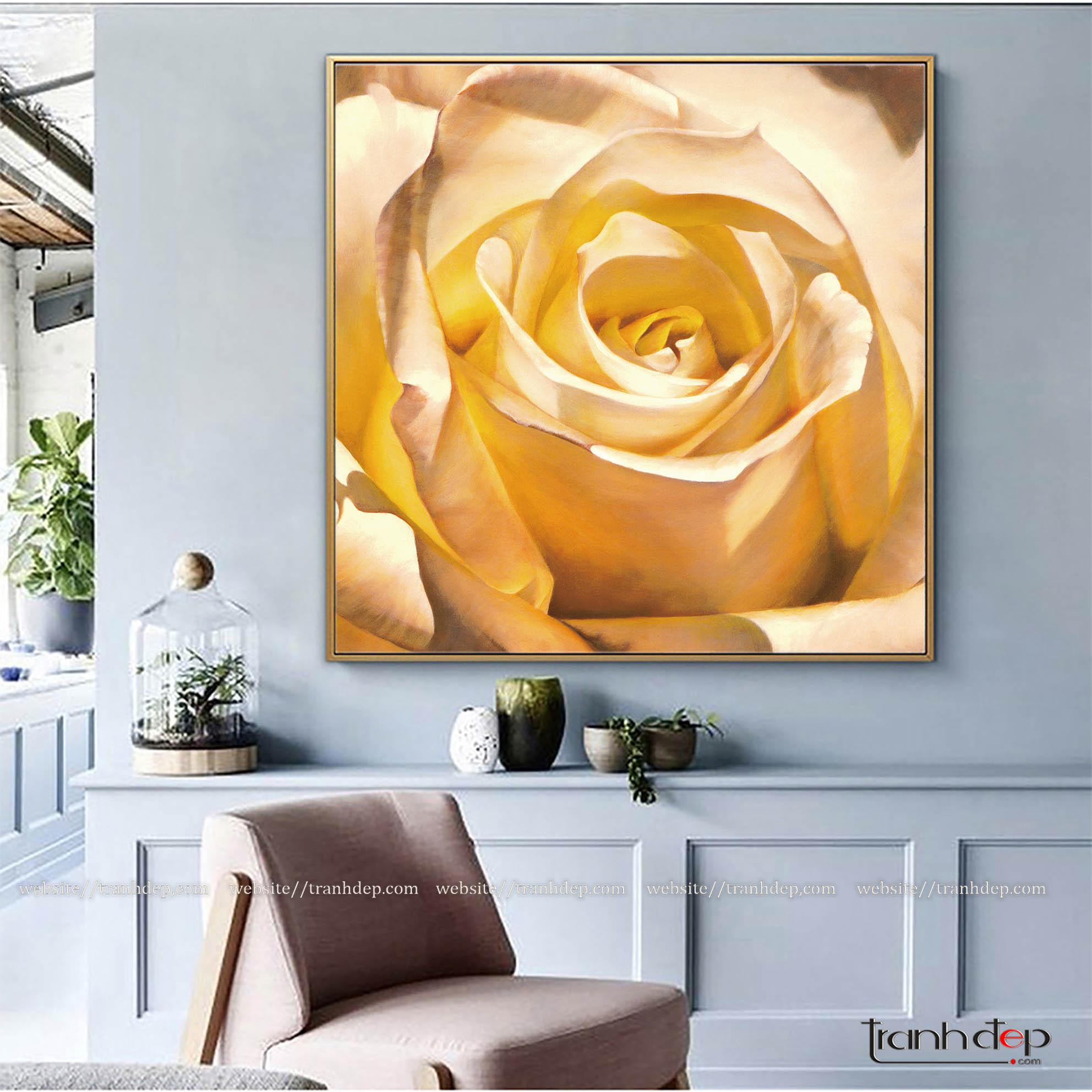 Tranh hoa hồng vàng