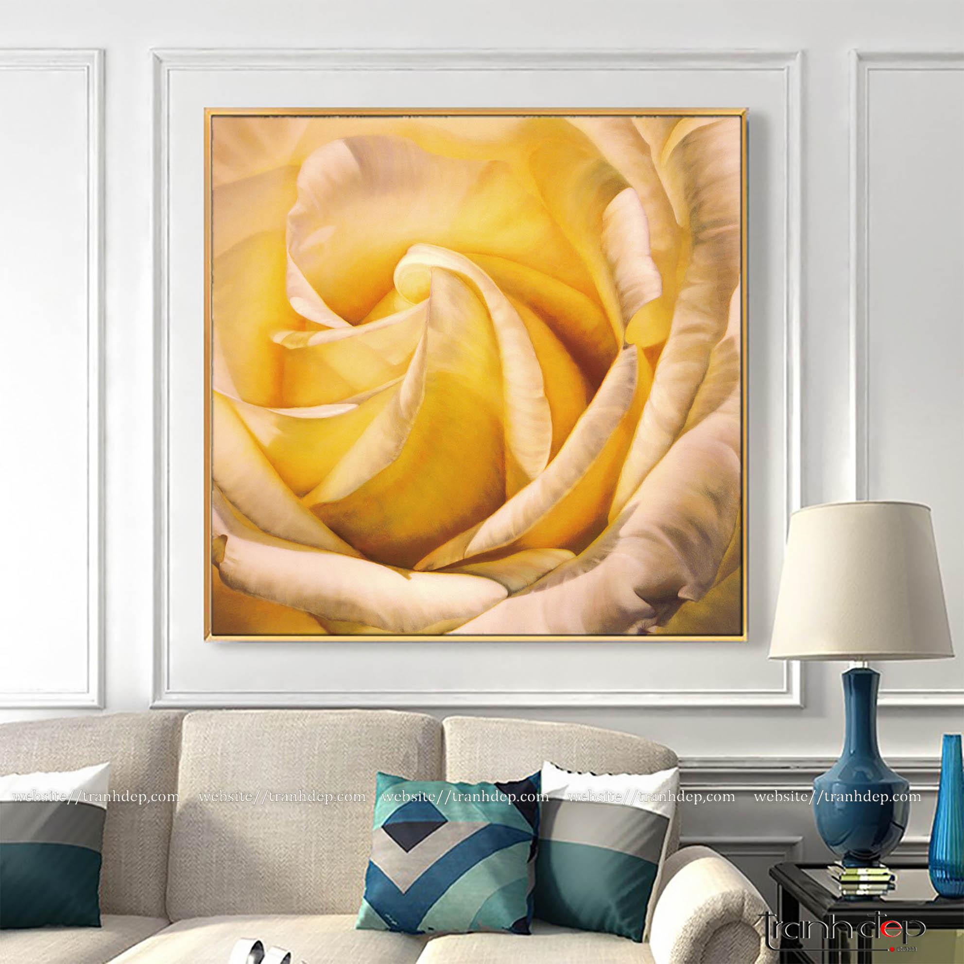 Tranh hoa hồng vàng trang trí tường