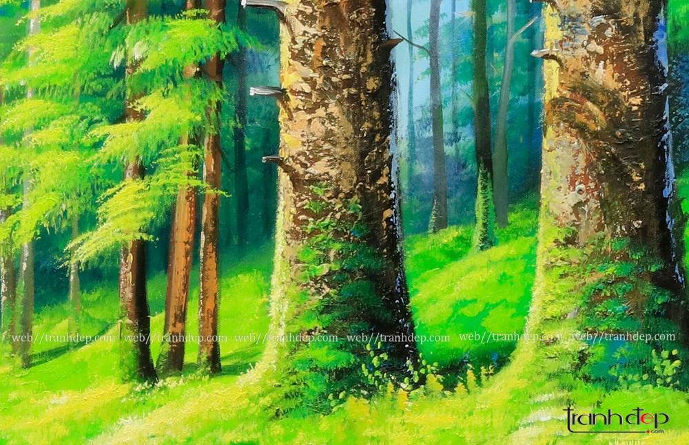 tranh rừng cây phong thủy