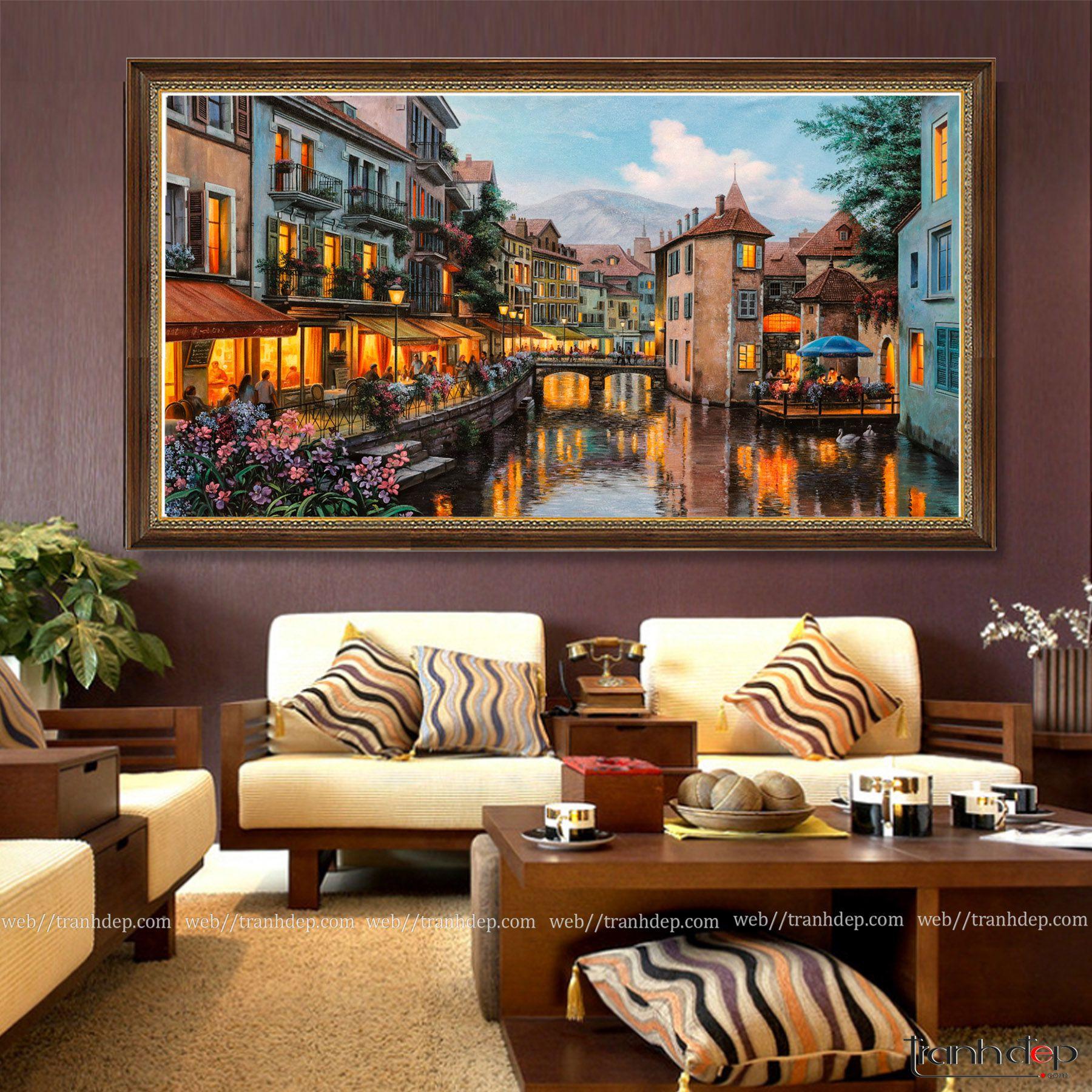 Tranh phong cảnh Châu Âu treo phòng khách