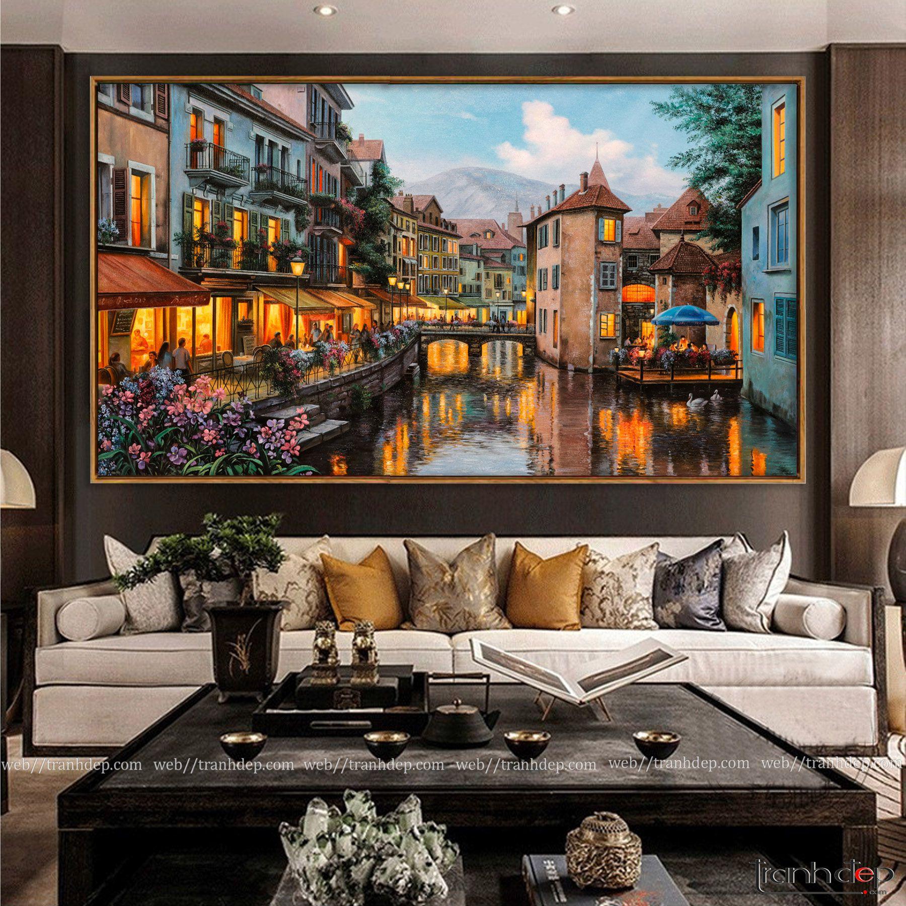 Bức tranh Châu Âu đẹp làm không gian sang trọng