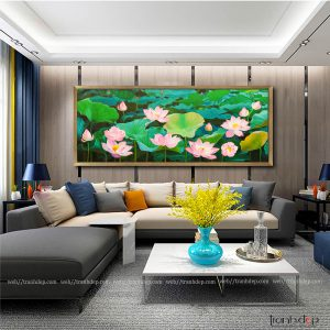 Tranh hoa sen dán tường sang trọng