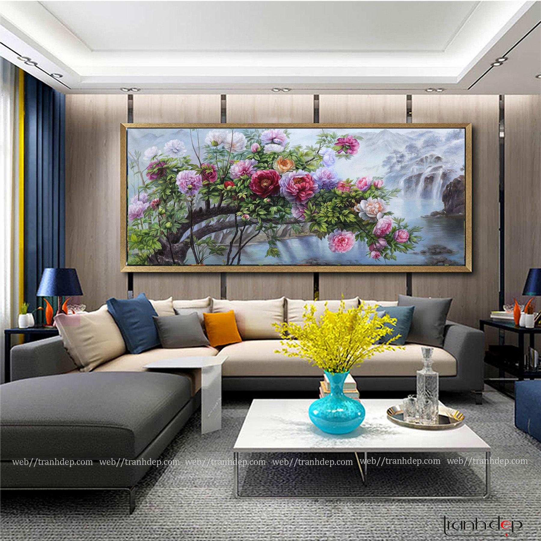 Tranh hoa mẫu đơn trang trí phòng khách
