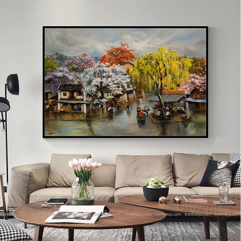 Mẫu tranh sơn dầu phố cổ trang trí phòng khách