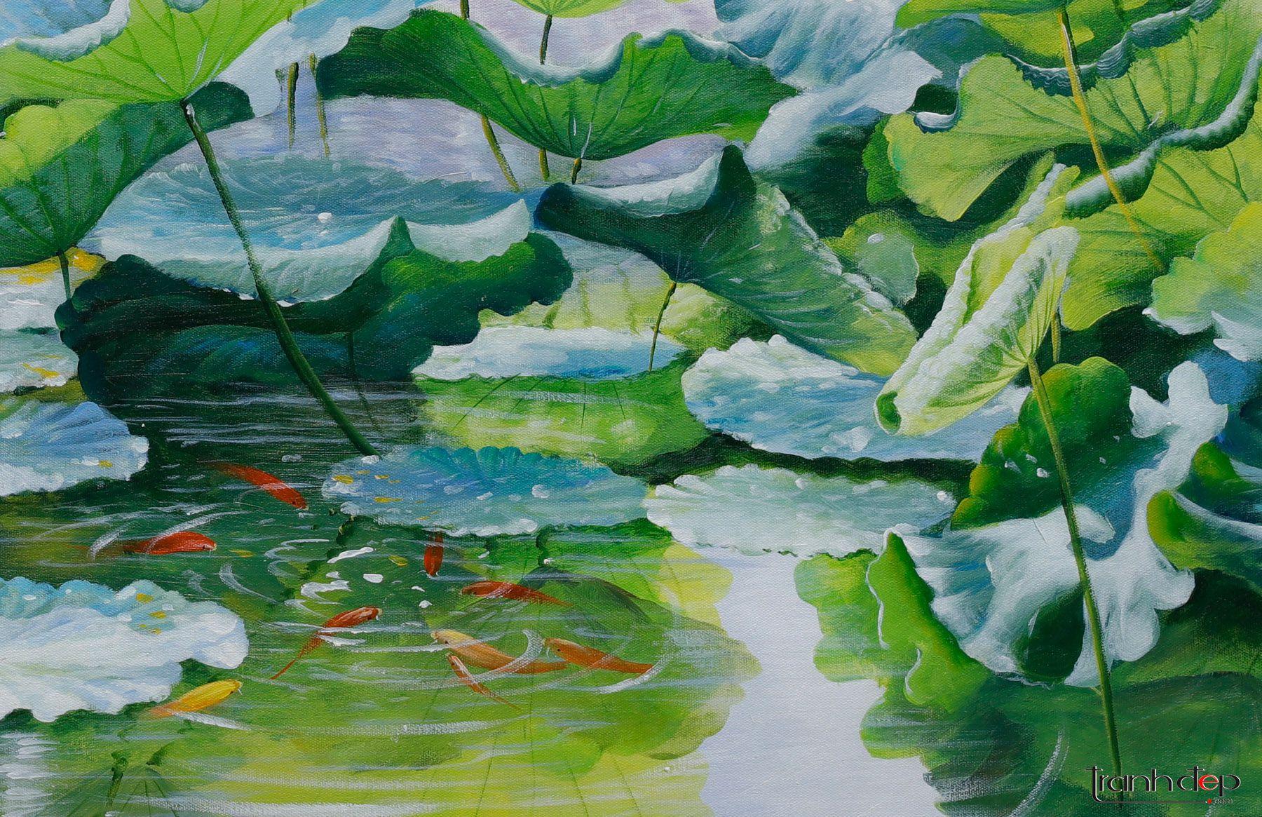 Tranh vẽ hồ sen