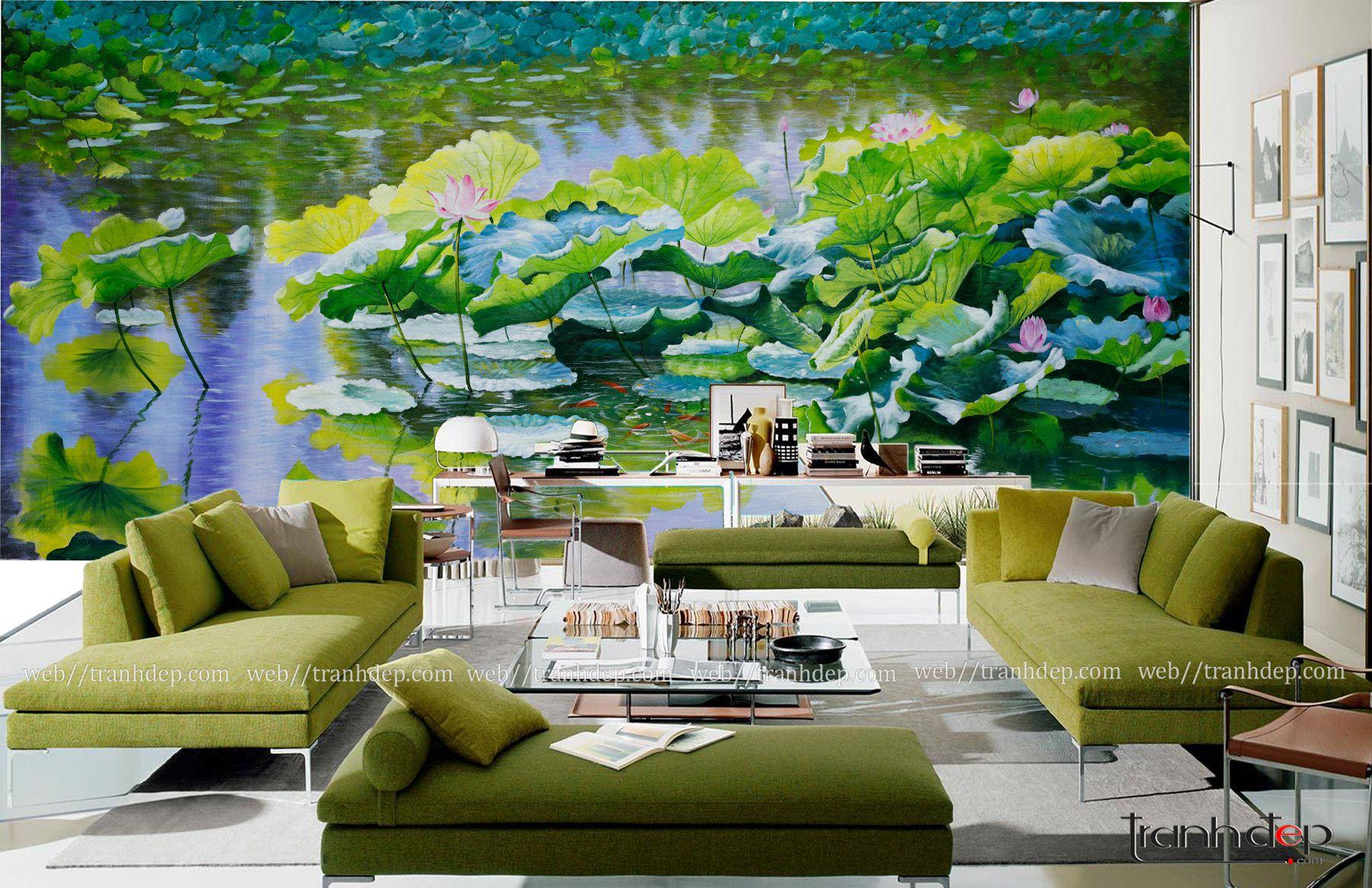 Tranh dán tường vẽ hồ sen