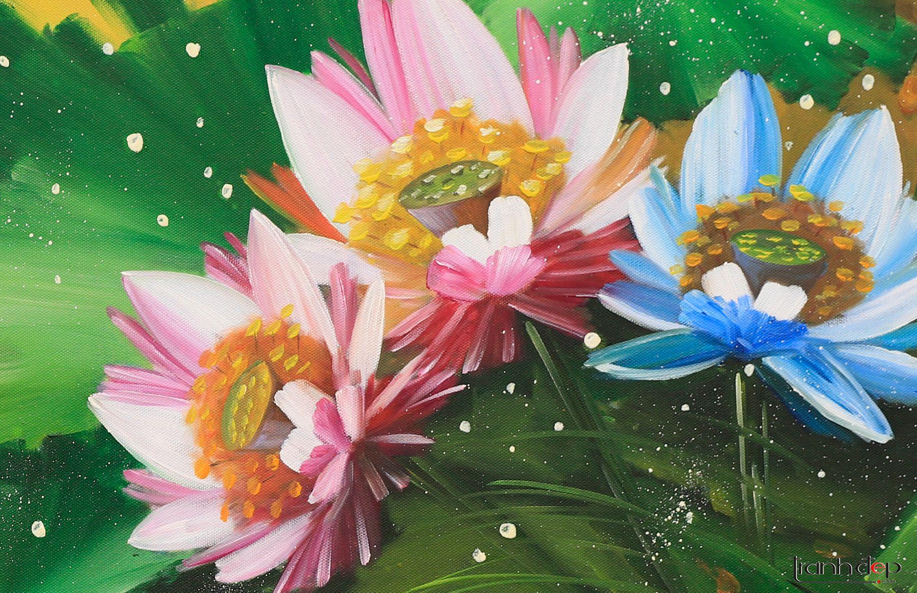 tranh hoa sen cách điệu