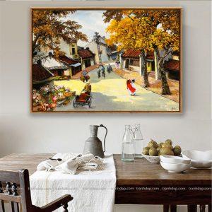 Tranh treo tường phòng khách phố cổ Hà Nội