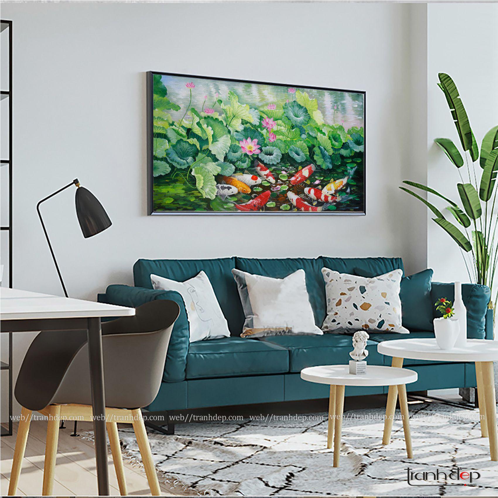 Tranh hoa sen và cá chép trang trí tường phòng