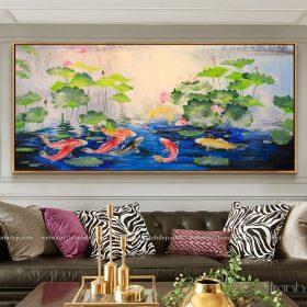 Tranh vẽ hoa sen và cá chép 3D