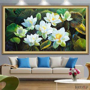 Tranh treo tường hoa sen trắng hiện đại