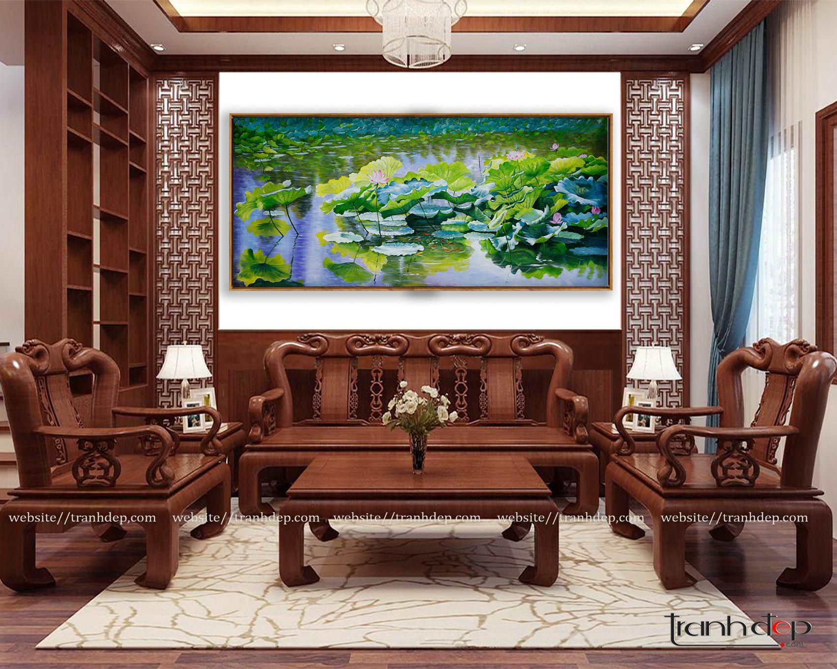 Tranh vẽ hồ sen truyền thống