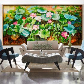 Tranh hoa sen dán tường