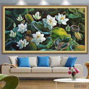 Tranh hoa sen trắng khổ lớn
