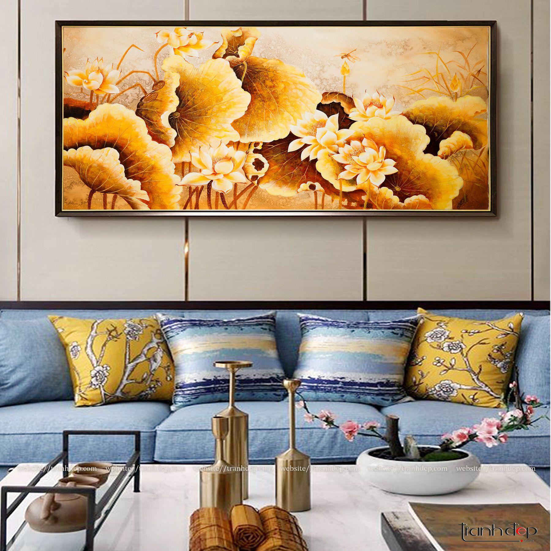 tranh hoa sen vàng