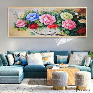Tranh sơn dầu hoa mẫu đơn 9 bông