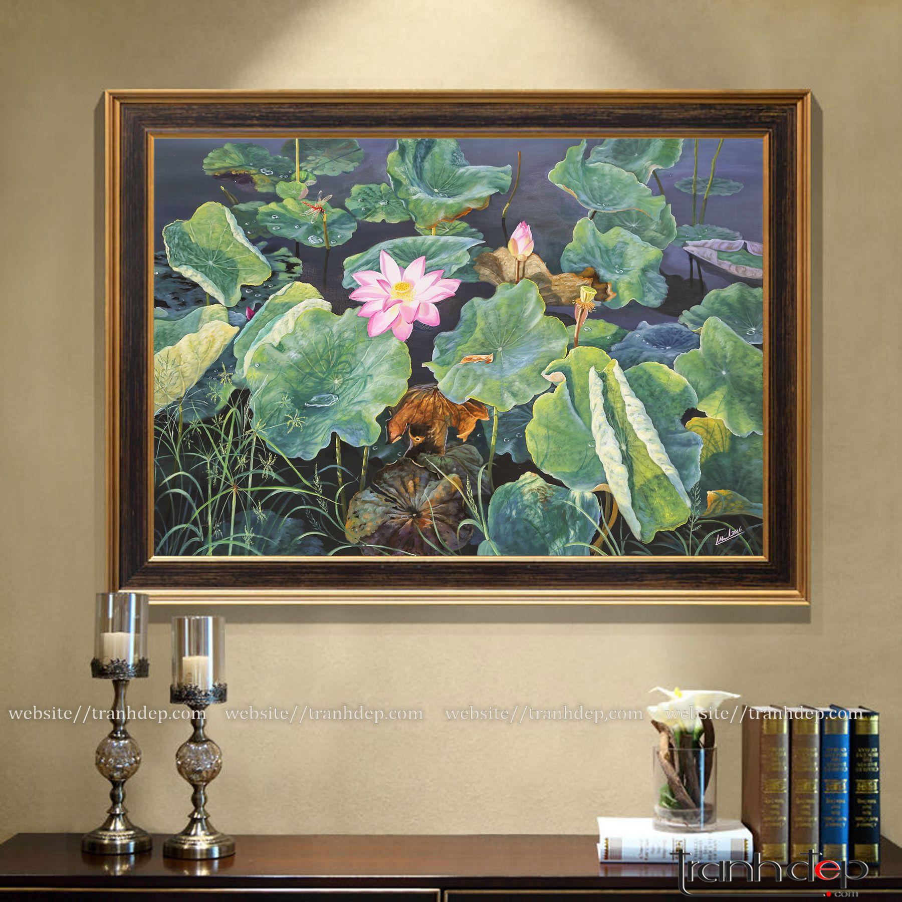 Tranh hoa sen treo tường hiện đại