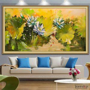 Tranh hoa sen xanh cỡ lớn