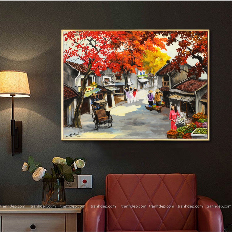 Phong cảnh Hà Nội xưa trong tranh phố cổ - chụp cận cảnh