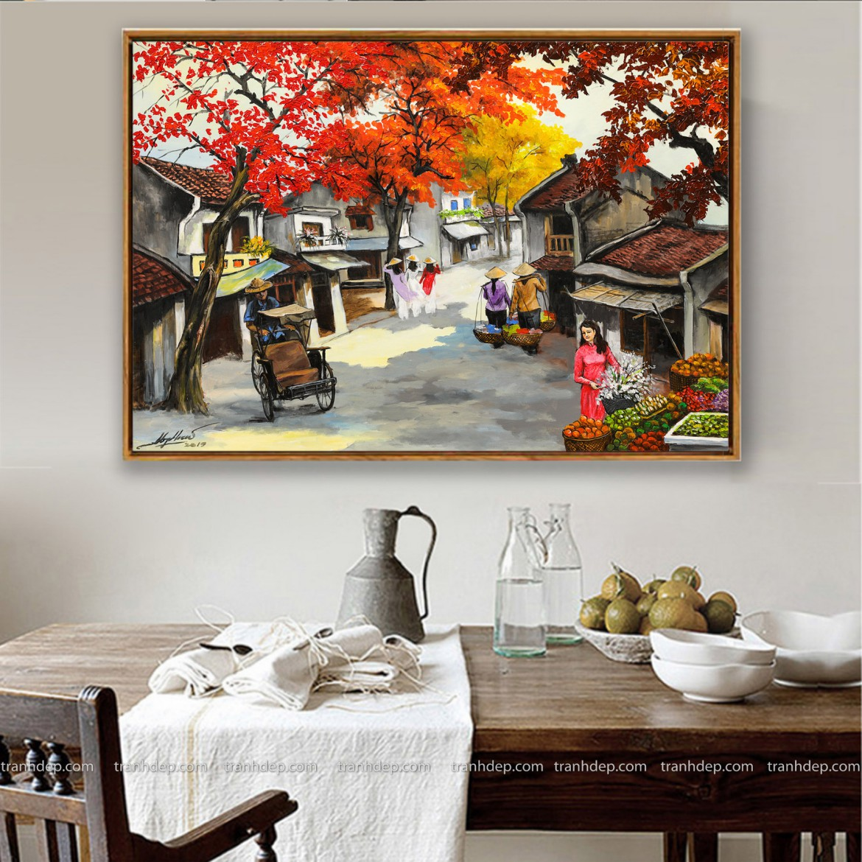 Phong cảnh Hà Nội xưa vẽ sơn dầu