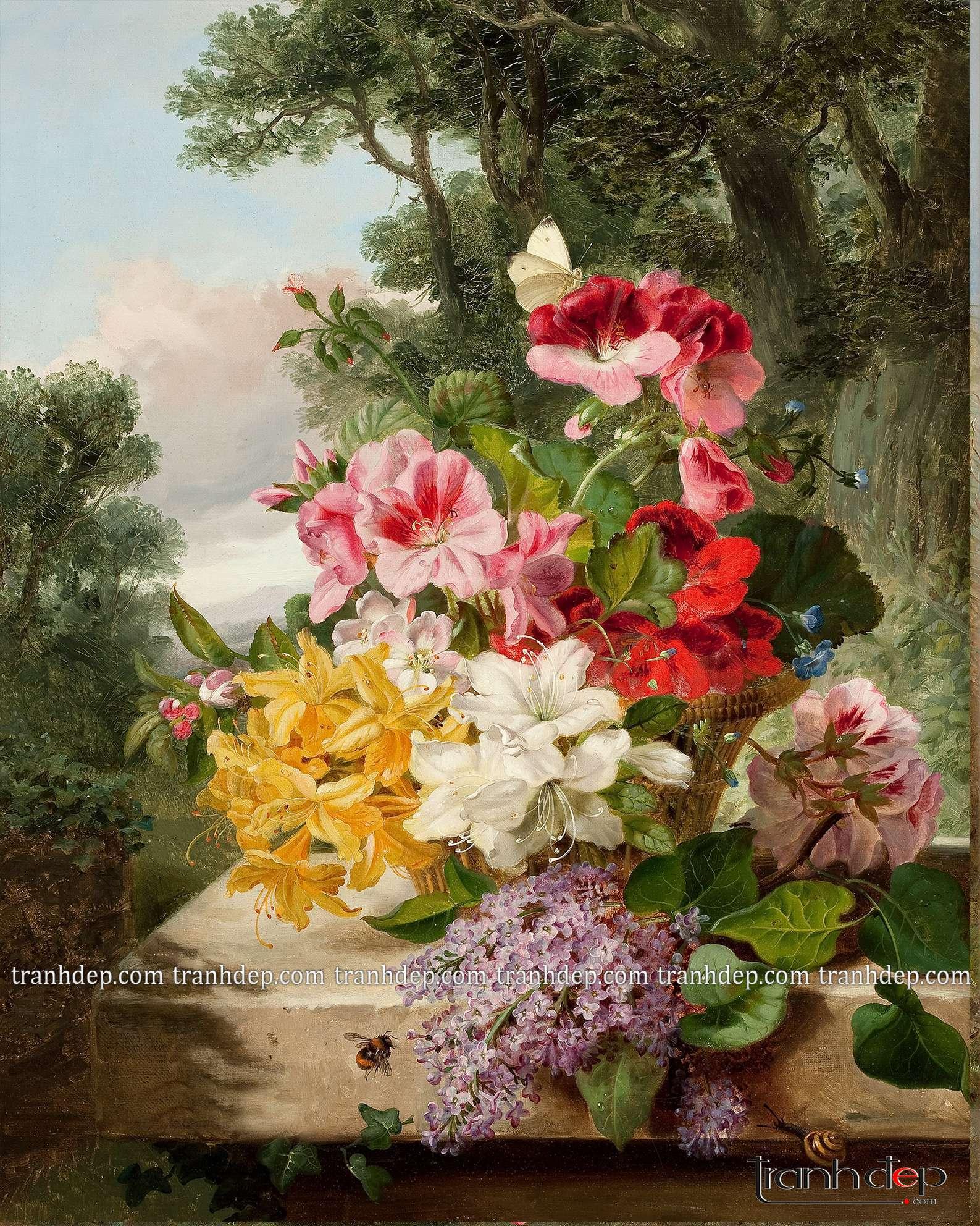 tranh tinh vat hoa co dien sang trong quy toc