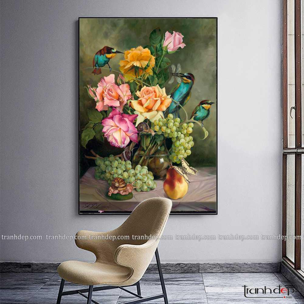tranh tinh vat hoa va qua co dien
