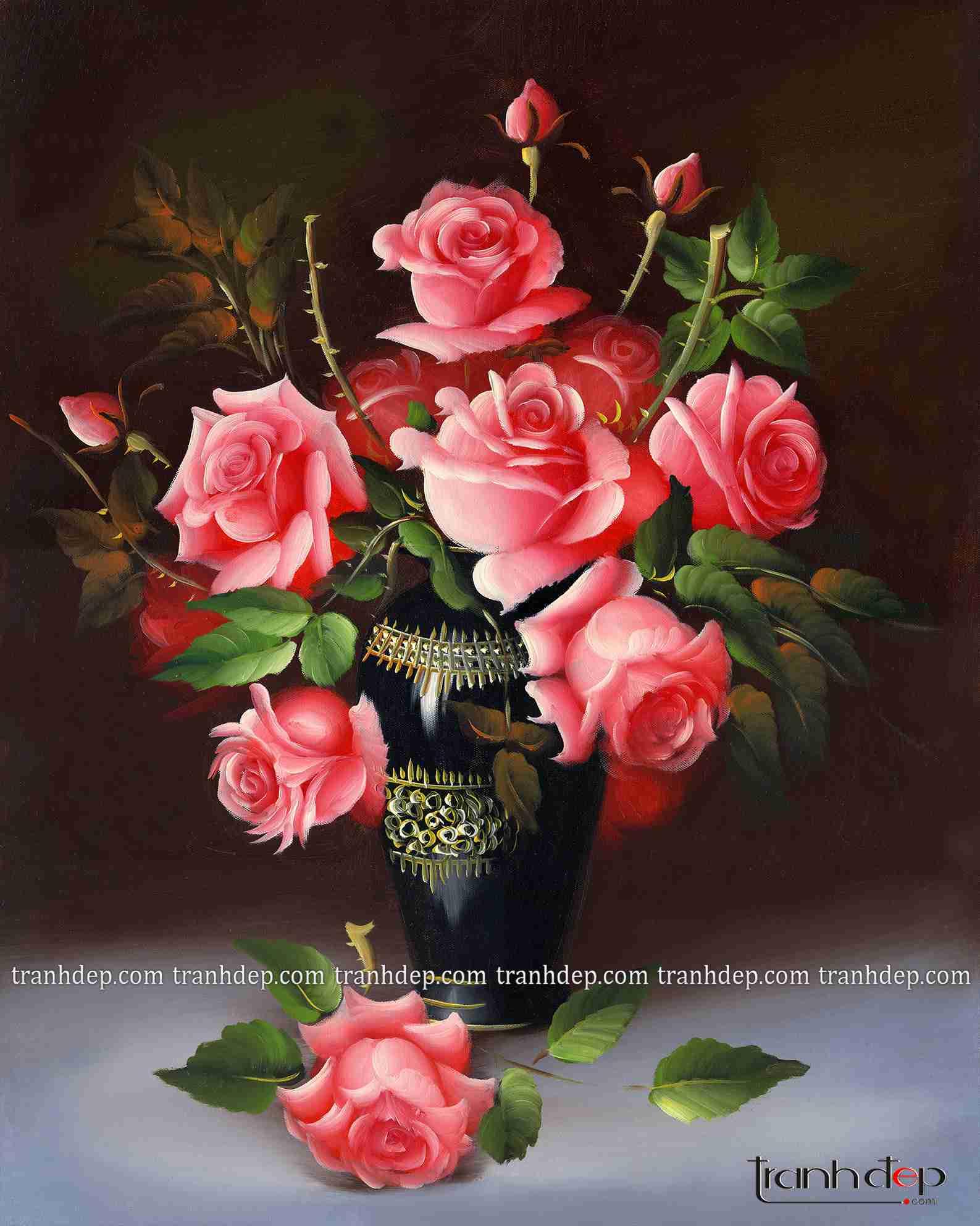 tranh tinh vat lang hoa hong sieu dep