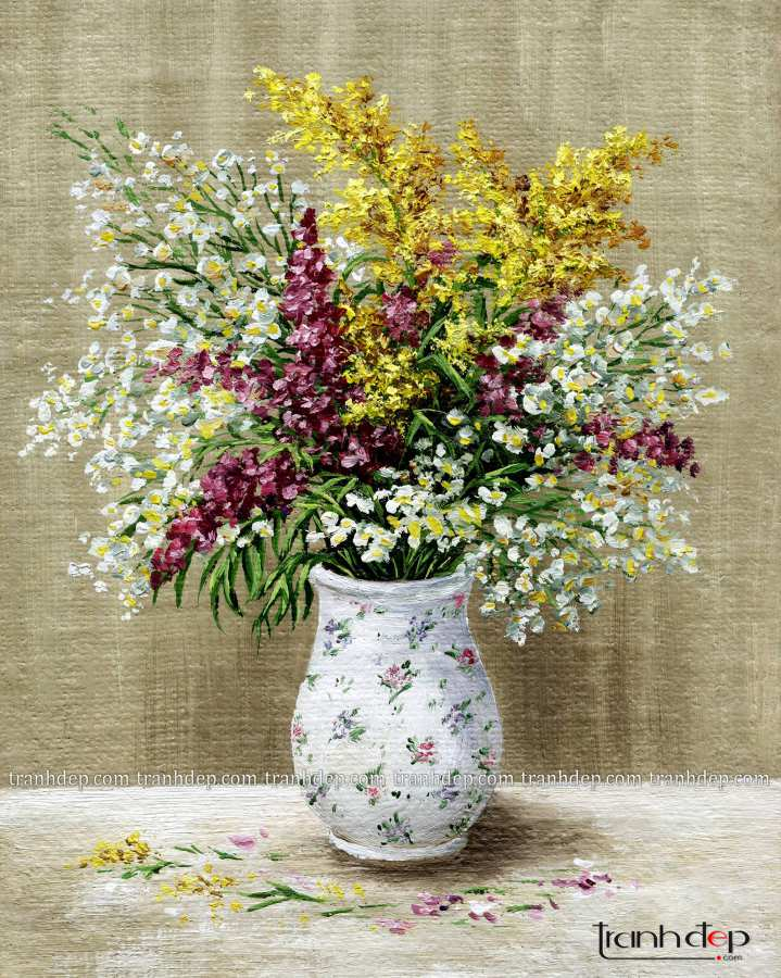 tranh tinh vat binh hoa cuc hoa mi sang trong treo phong khach