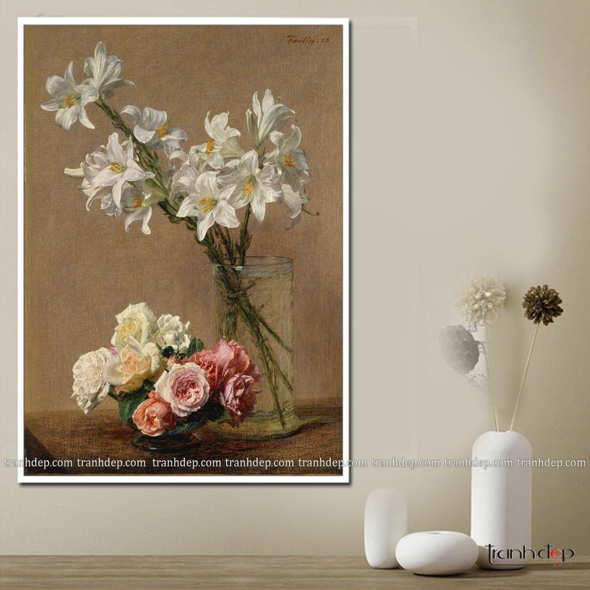 Tranh tĩnh vật bình hoa trắng tinh khôi (4)