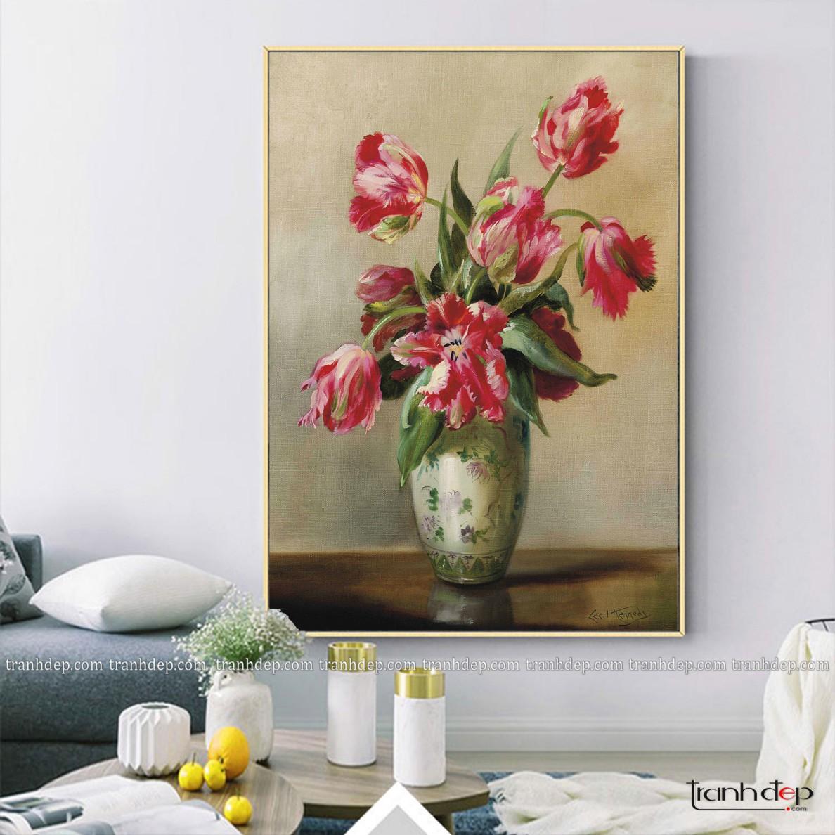 tranh tinh vat binh hoa tulip hong quy toc