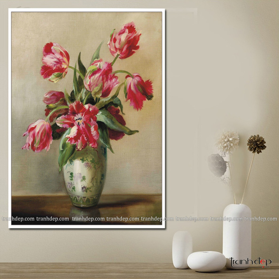 tranh tulip màu đỏ