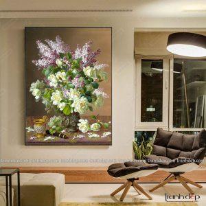 Tranh tĩnh vật bông hoa trà tinh tế sang trọng