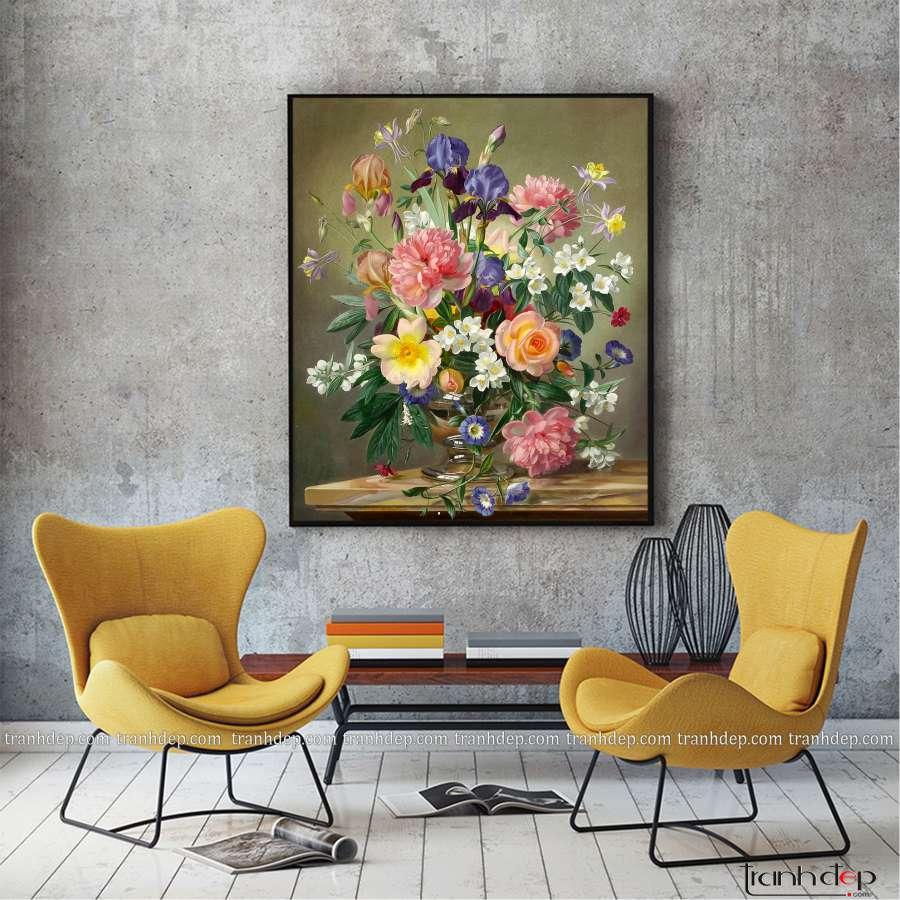 tranh tinh vat binh hoa hong khoe sac