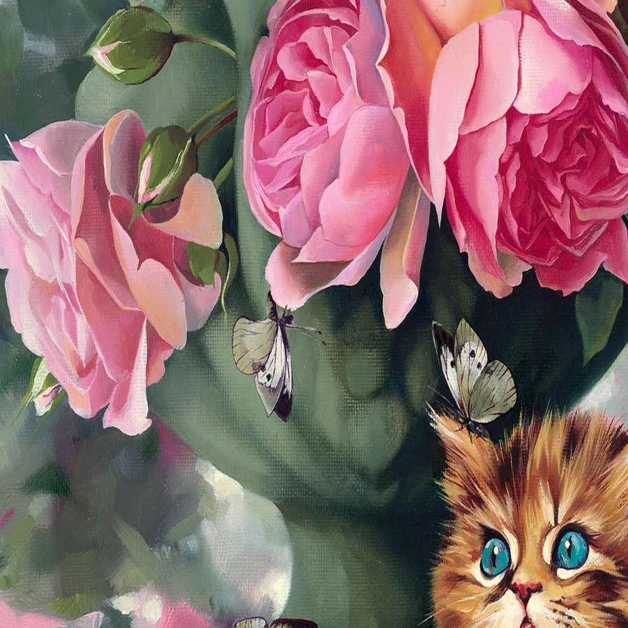 tranh tinh vat hoa hong va meo con de thuong