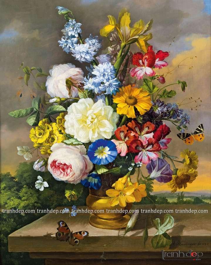 tranh tinh vat hoa hong vang co dien sang trong
