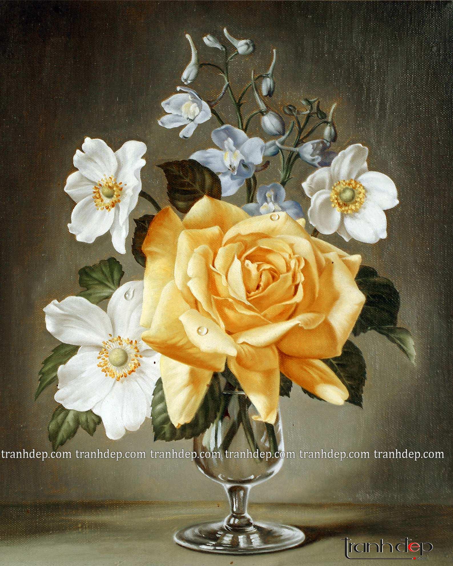 tranh tinh vat hoa hong vang tuyet dep