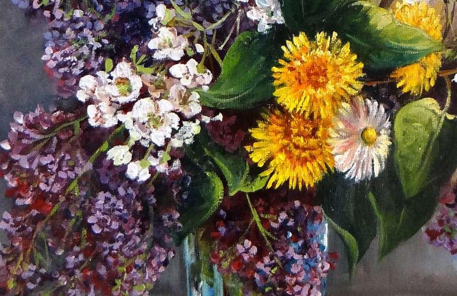 tranh tinh vat hoa treo ban an