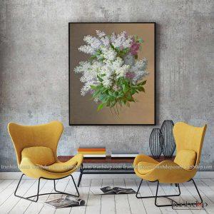 tranh tinh vat nhung chum hoa trang tinh khoi