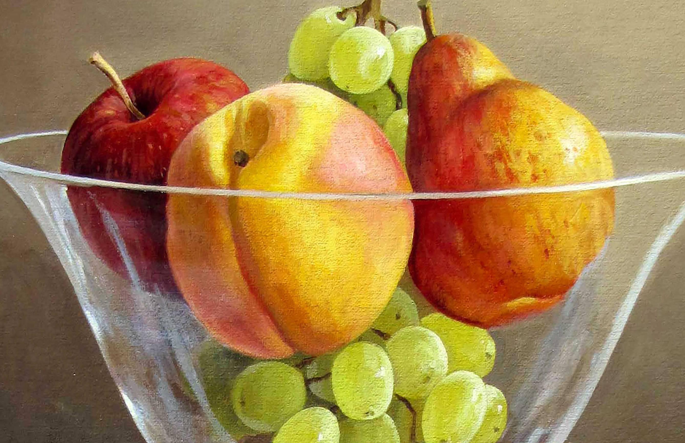 Cận cảnh bức tranh tĩnh vật các loại quả
