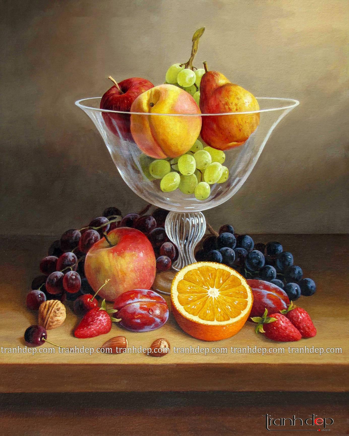 Tổng thể bức tranh tĩnh vật hoa quả tuyệt đẹp