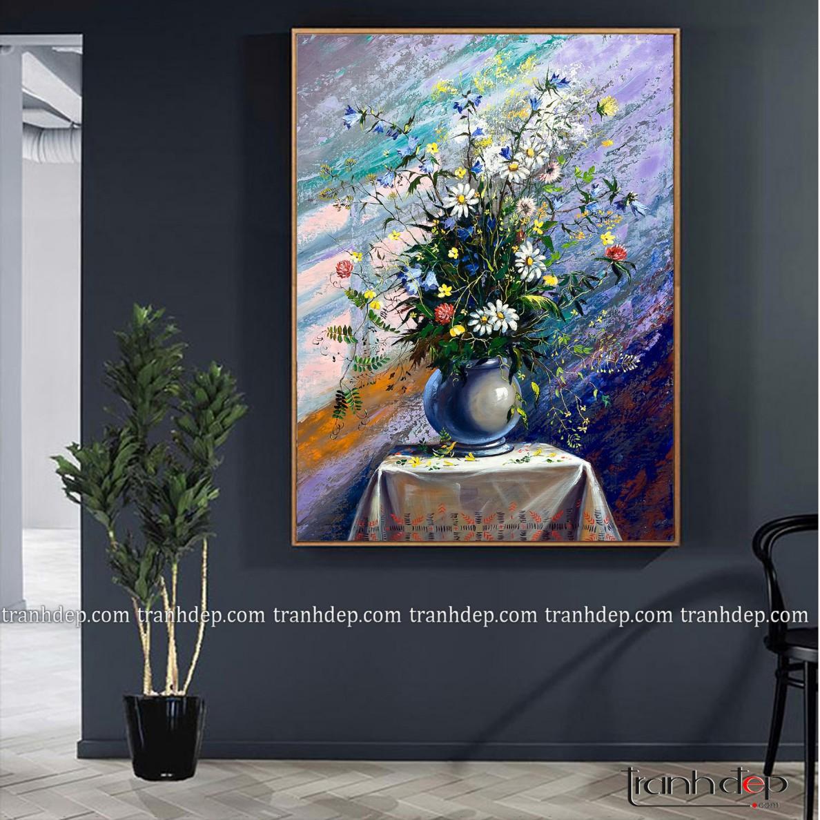 tranh tinh vat binh hoa cuc