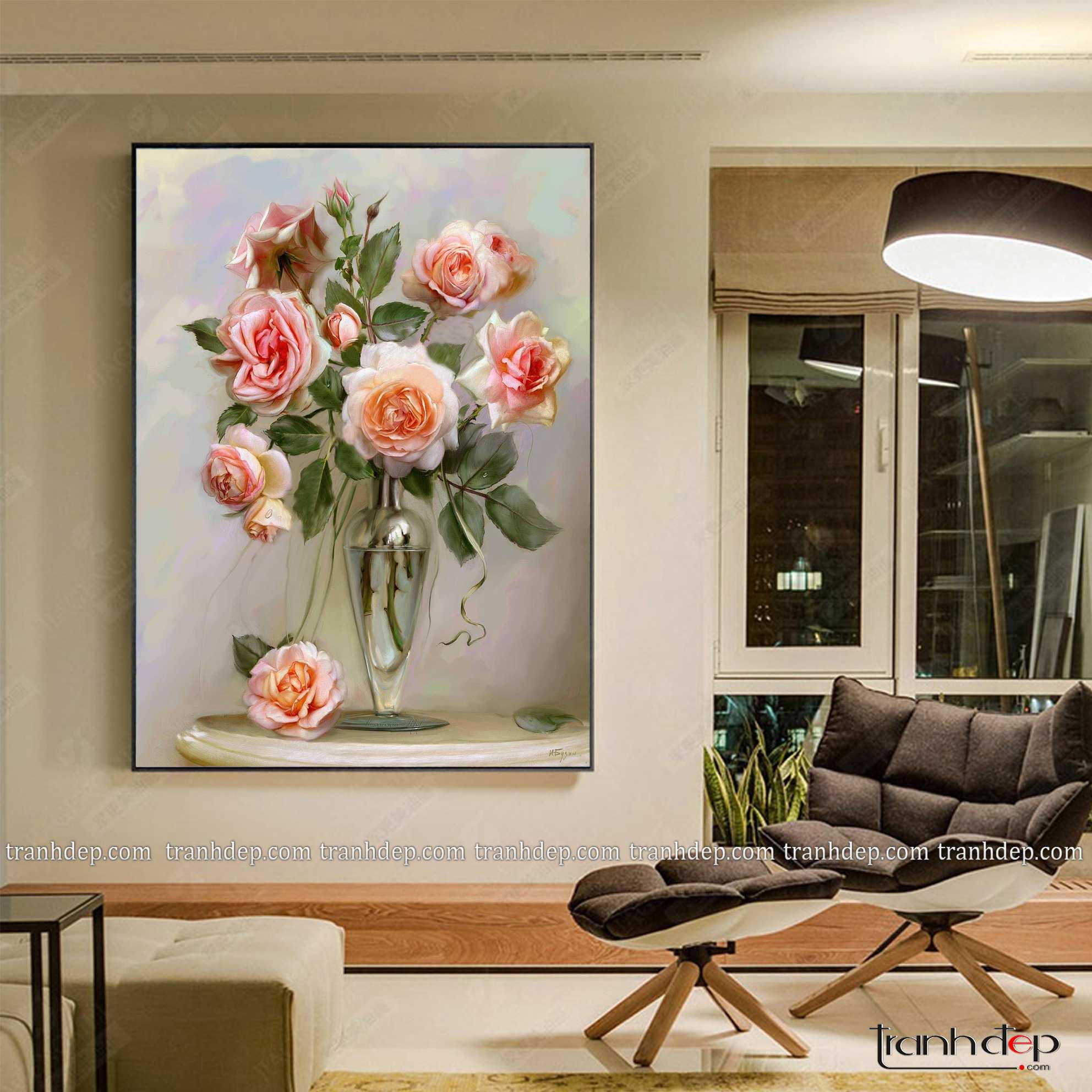 tranh hoa hong tinh khiet