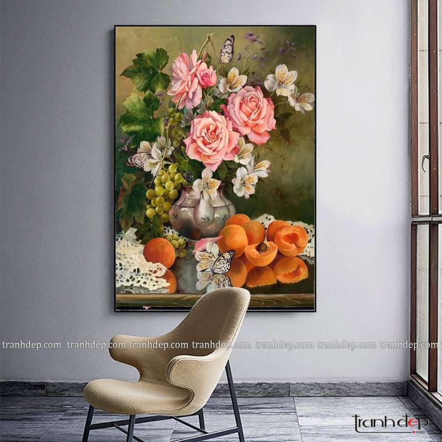 tranh tinh vat hoa qua sang trong bat mat