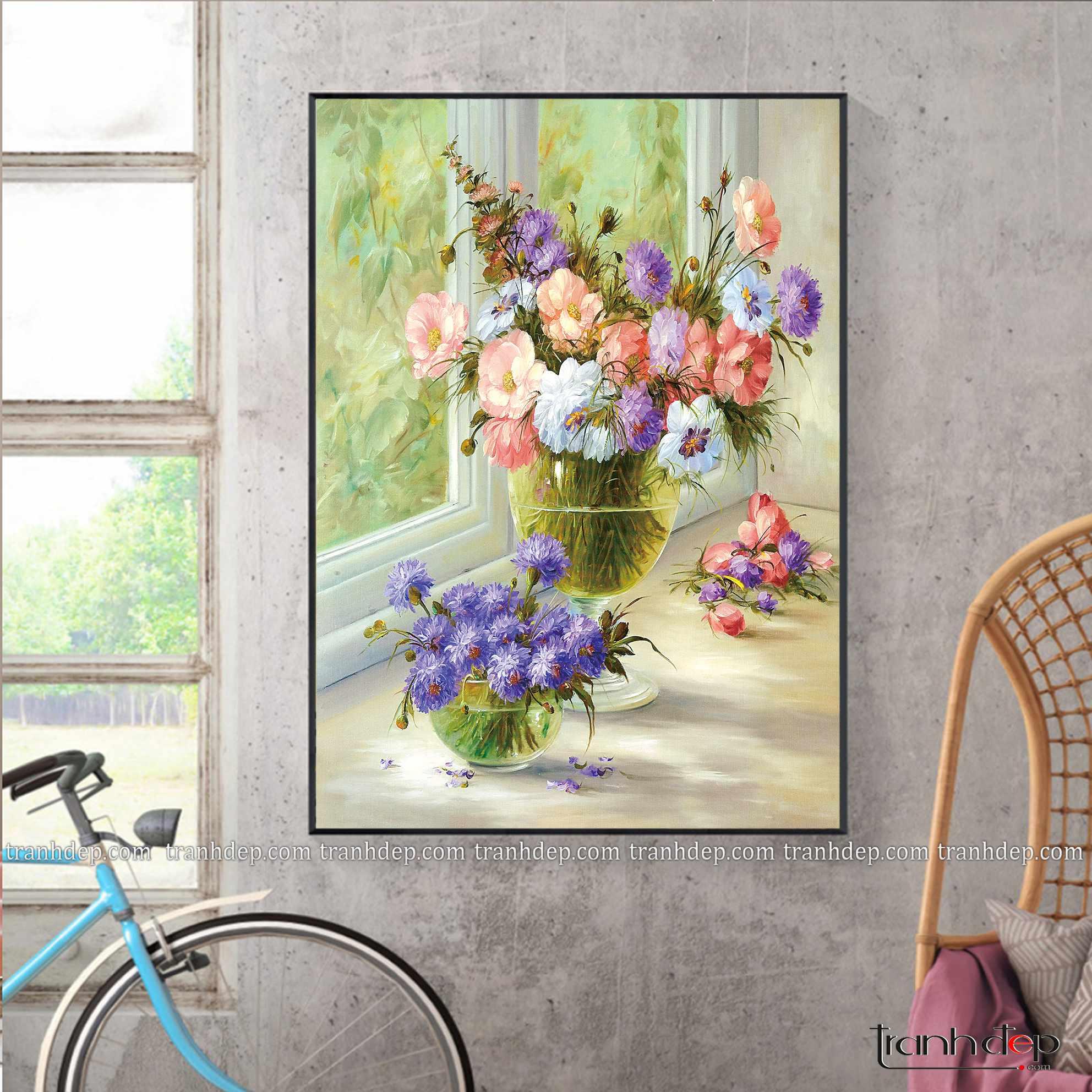 tranh tinh vat hoa tuoi vui nhieu mau sac