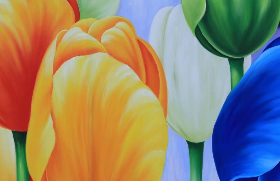 tranh hoa dep nhieu mau sac treo phong khach