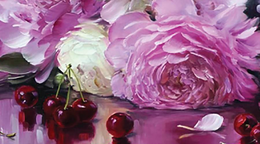 tranh hoa khoe sac tinh te treo phong khach