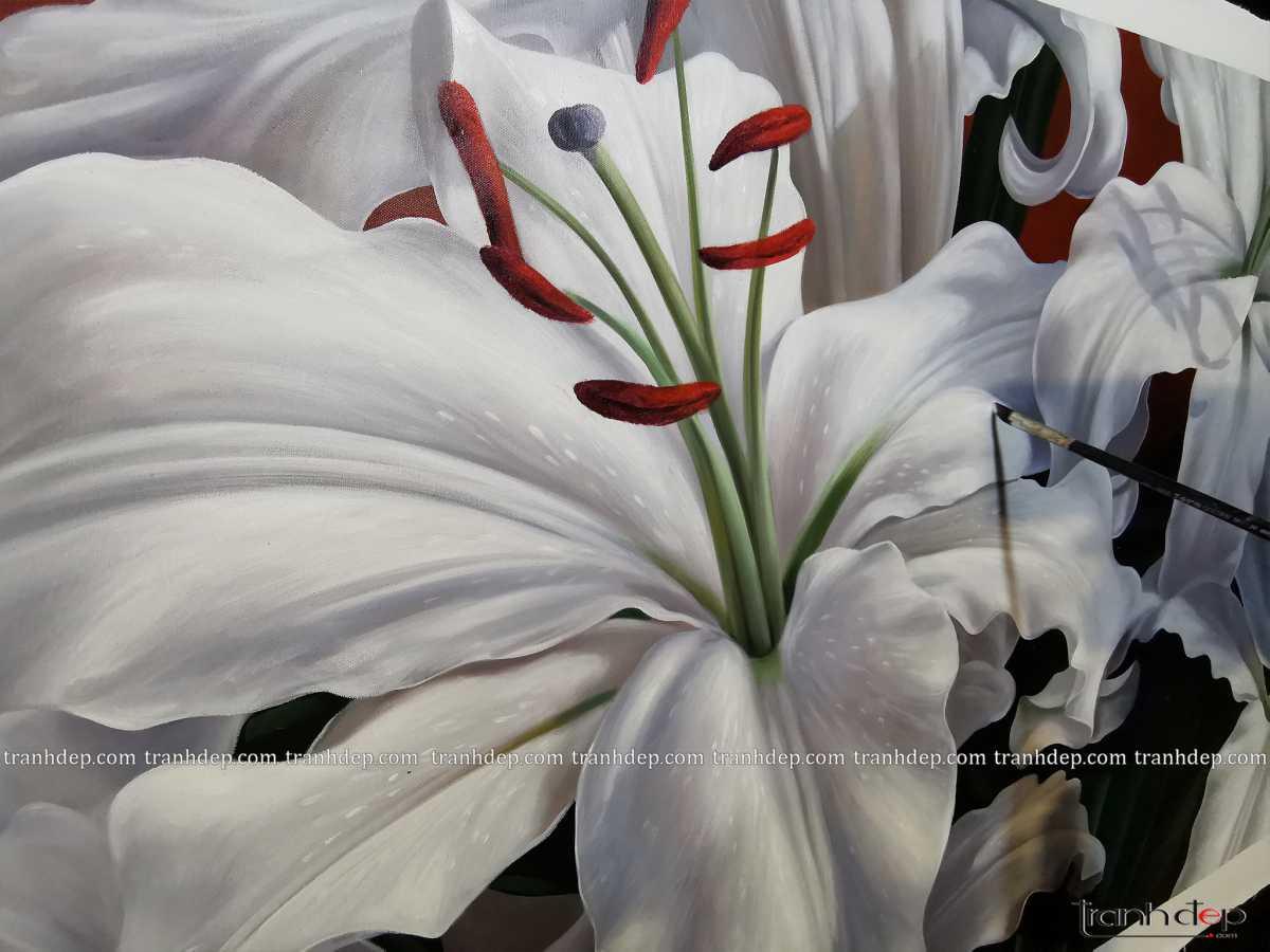 tranh hoa ly trang nhe nhang tinh te sang trong