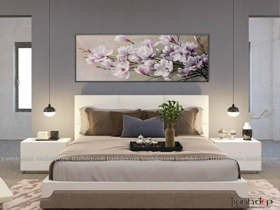 tranh hoa moc lan nhe nhang tinh te sang trong treo khong gian nha