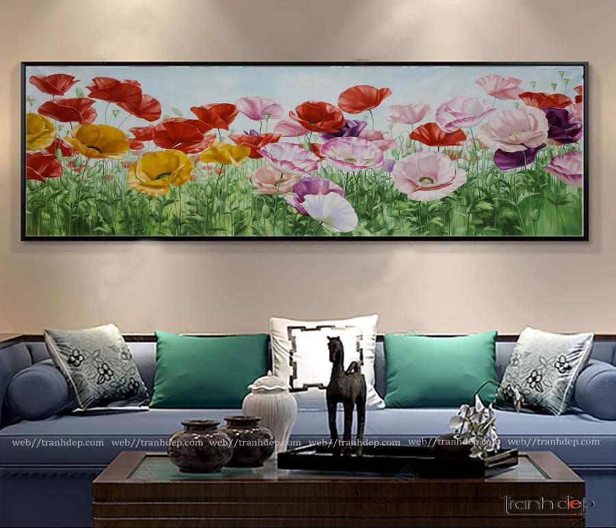Tranh hoa poppy trang trí phòng khách